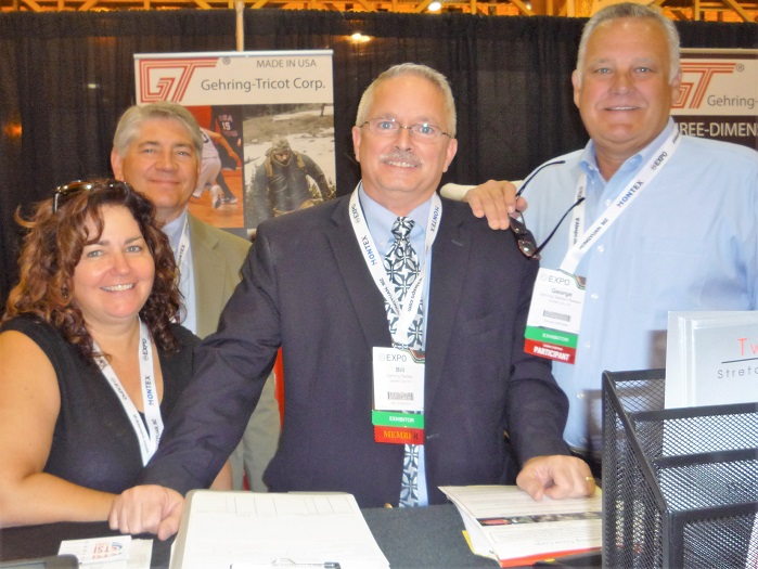 Mary Reardon, Skip Gehring, Bill Christmann, George Kelhofer of Gehring-Tricot Tweave Fabrics. © Debra Cobb