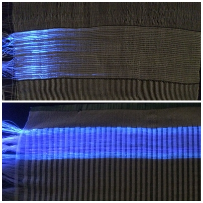 "Depending on the weaving process, the light from the optical fibers penetrates the fabric differently. A satin fabric (below), where the threads cross as seldom as possible, clearly ""out-shines"" a simple linen fabric (above). © Empa"