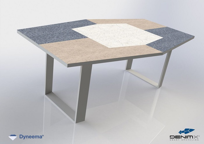 Prototype design table made with a combination of re-used Dyneema UD sheets and DenimX. © DSM Dyneema
