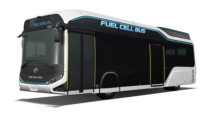 The roof cover is adopted for the world's first mass-produced fuel-cell bus, which was developed by Toyota Motor Corporation. © Teijin Group