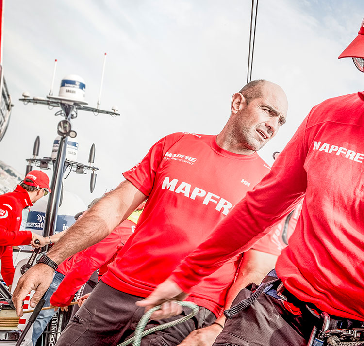 MAPFRE skipper Xabi Fernández, who is a double Olympic medallist and one of the most highly regarded Volvo Ocean Race sailors of the modern era, wearing a Helly Hansen Merino base-layer. © María Muiña/MAPFRE
