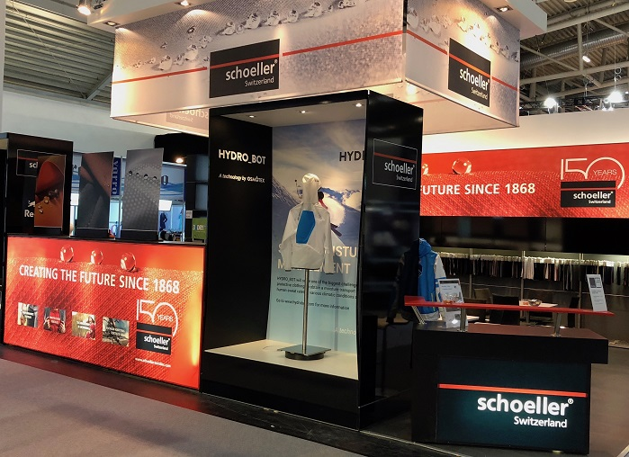 Schoeller is partnering with Osmotex and is showing the Hydro_Bot jacket on their stand. © Osmotex