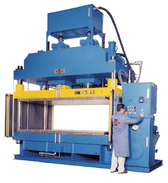 "The companies will feature their full line of composite presses with capacities from .5 to 1200 tons and platen sizes from 6"" X 6"" to 6' X 12'. © Wabash"