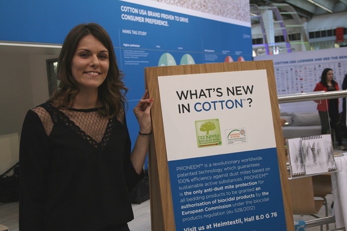 Julie Portal of Proneem at the 'What's New in Cotton?' showcase in Frankfurt.