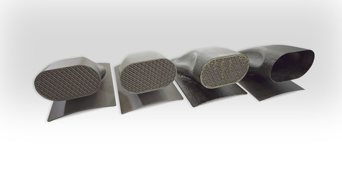 Hollow inlet duct by Swift Engineering, created using the Stratasys FDM-printed sacrificial tooling solution. © Stratasys