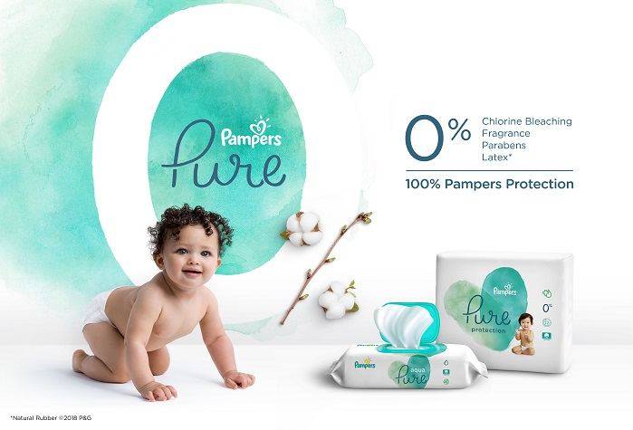 The new Pampers Pure Collection is made with 0% chlorine bleaching, fragrance and parabens. © P&G/Pampers