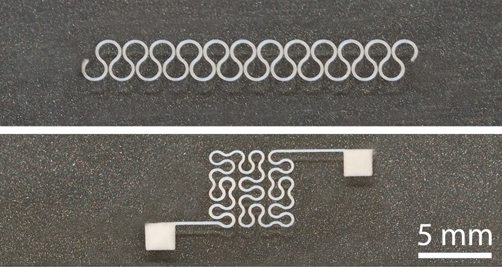 Two printed silver nanowire patterns, horseshoe and Peano curve, with high resolution. © North Carolina State University