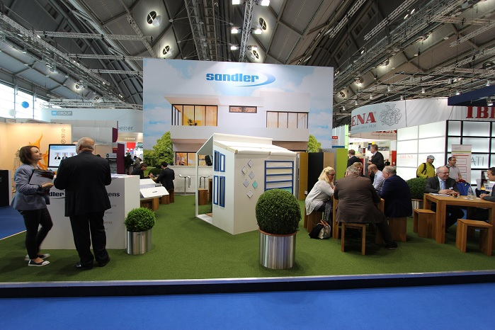 Sandler stand at Techtextil, in Frankfurt, last year. © Sandler