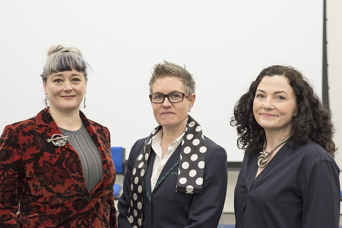 Keynote speaker Jenny Sabin (centre) with conference co-organisers Joanne Harris (left) and Jo Conlon (right). © University of Huddersfield