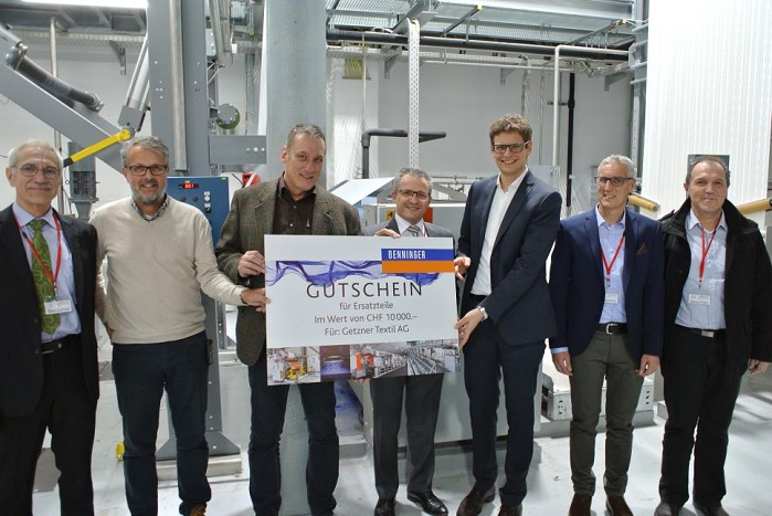 From left to right: Peter Gnägi (Chairman of the Board of Directors, Benninger), Herwig Steiner (Head of Dyeing Facility, Getzner), Heinz Moosbrugger (Head of Finishing, Getzner), Beat Meienberger (CEO, Benninger), Roland Comploj (Chairman of the Board, Getzner), Jürgen Ströhle (CTO, Benninger), Peter Niklaus (Engineering, Benninger). © Benninger