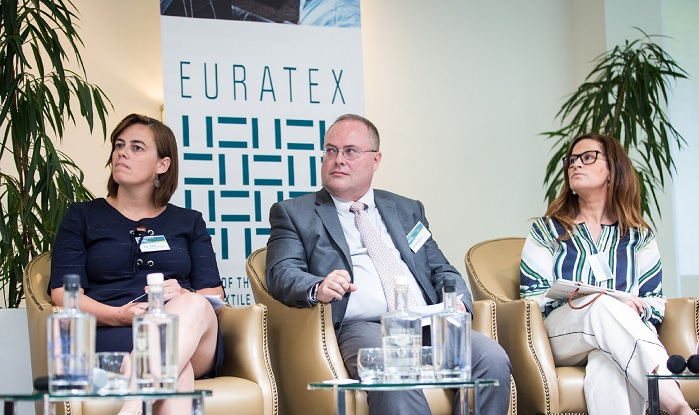Guest speakers from Panel 2: Anneleen De Smet (Beaulieu International Group, Belgium), Jean-Luc Barbarin (Innothera, France) and Elsa Parente (Valérius, Portugal). © Euratex