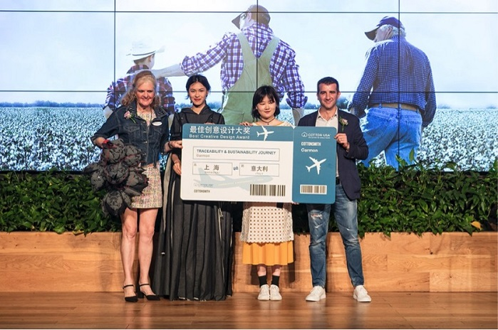 Garmon Chemicals awarded Jingtian Wang as the best student with the most promising design proposal in the fashion Contest. © Garmon Chemicals
