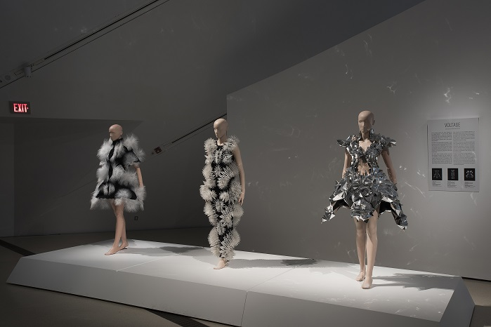 Three garments from Iris van Herpen's Voltage collection (January 2013). © ROM
