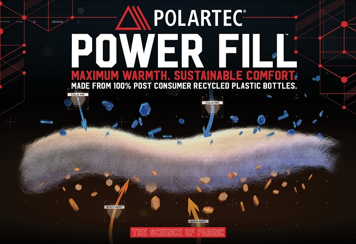 100% recycled Polartec Power Fill is currently available in 80 and 100 g/m² weights. © Polartec