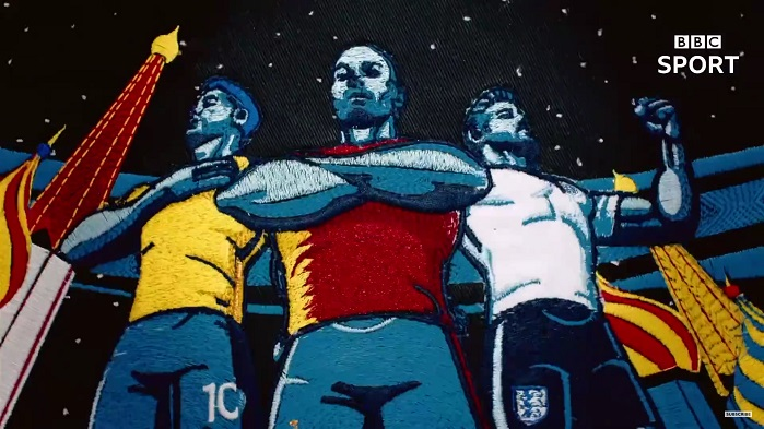 The video was animated on computer, and then each of the 600 frames machine stitched at the London Embroidery Studio. © BBC Sport