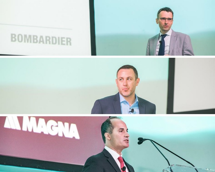 From top to bottom: Martin Bigras, Senior Expert Engineer - Composite Materials at Bombardier; Greg Beiser, Director – Future Mobility/Smart Cities at Faurecia; Paul Spadafora, Global Vice President of Product Development at Magna Exteriors. © JEC Group
