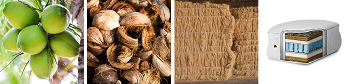 Coconut fibre mats are used as nonwoven material for heat insulation but also as mattress pads. © Groz-Beckert