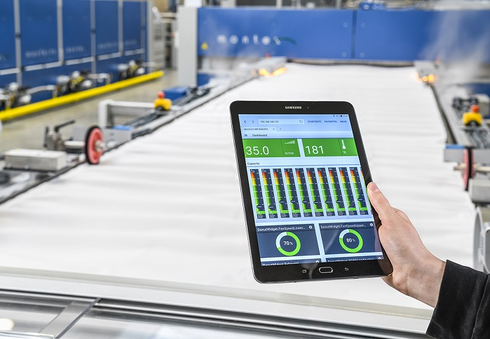 The new Monforts Qualitex Web-UI provide machinery data visualisation for remote control on handheld devices. © Monforts