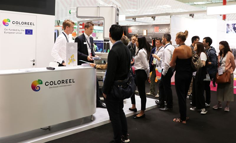 The product launch of Coloreel's instant thread colouring unit got an overwhelming reception at Avantex. © Coloreel