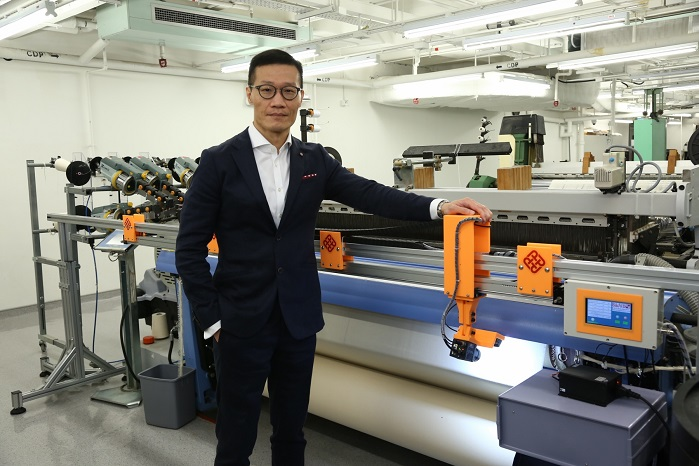 Prof Wong's team integrates Artificial Intelligence, Big Data, Deep Learning and Machine-vision technologies in WiseEye, which enhances the automation of quality control in textiles manufacturing. © PolyU