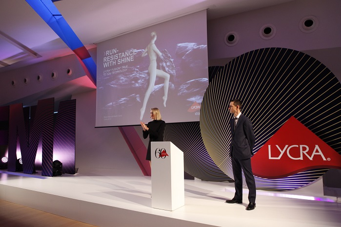 Marie Braun and Alberto Ceria presenting Lycra Fusion True to You technology. © 2018 Invista