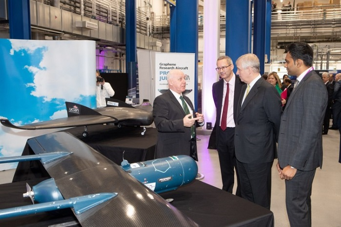 During the visit The Duke took in an exhibition of the latest graphene products and prototypes. © University of Manchester